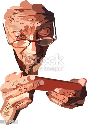 istock Old Woman Enjoy Music And Discuss Business 1331506585