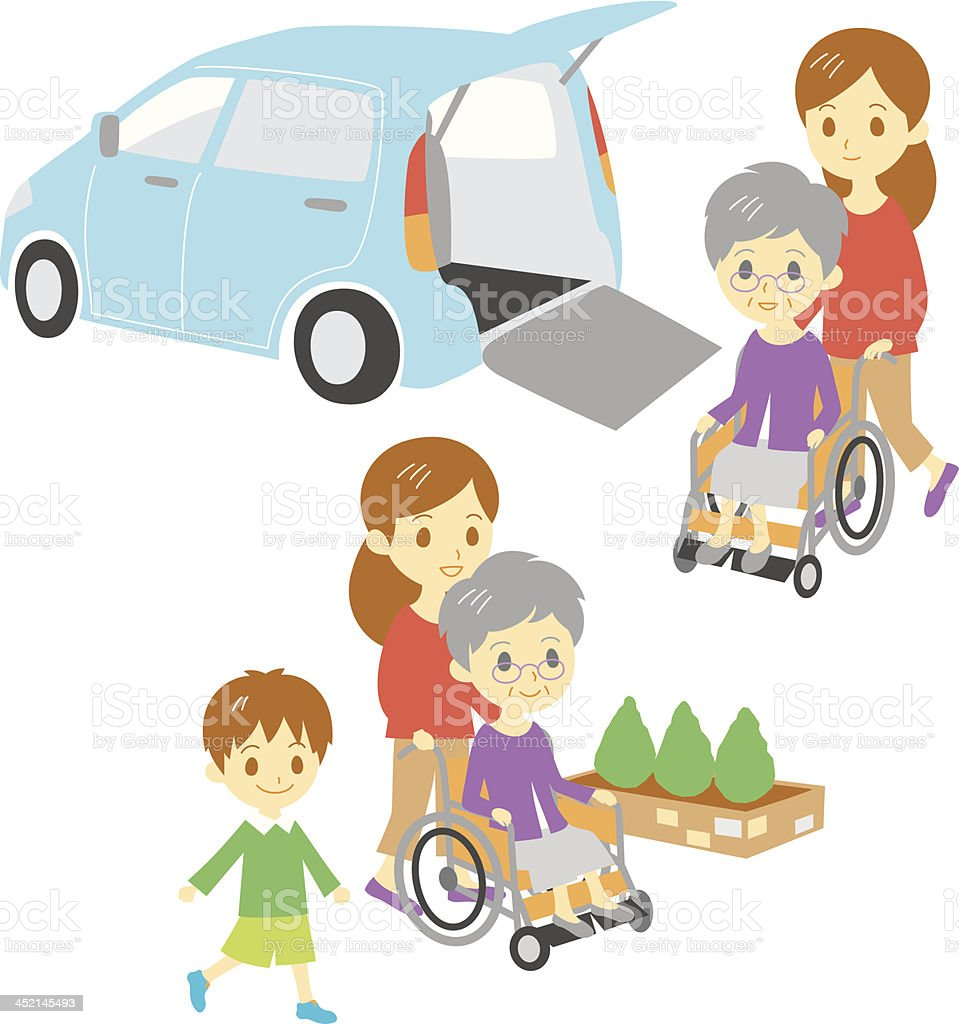 old woman in wheelchair, Adapted Vehicle, family royalty-free stock vector art