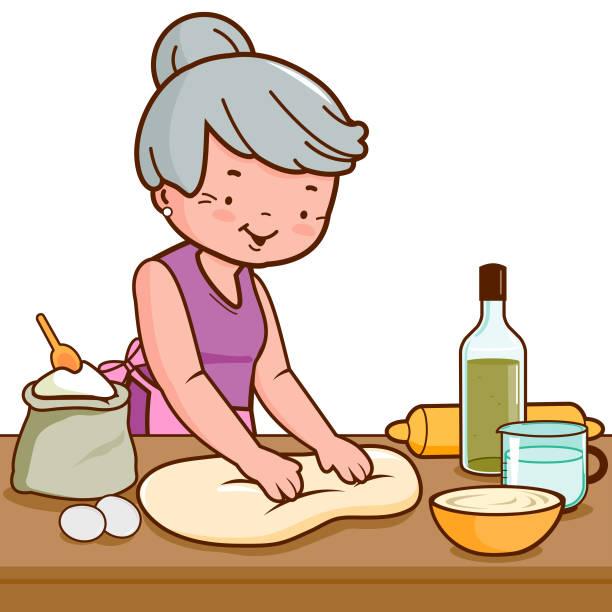 illustrazioni stock, clip art, cartoni animati e icone di tendenza di old woman kneading dough and making bread in her kitchen - impastare