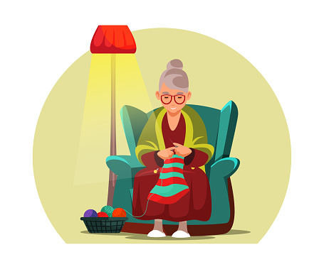Old woman knitting flat vector illustration. Aged lady, grandmother cartoon character. Granny sitting in armchair with wool thread ball and needles. Leisure activity, retiree making handmade clothes.