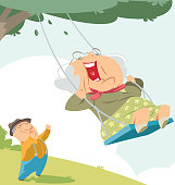 Old woman on the swing