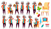 Old Woman Poses Set Vector. Black. Afro American. Elderly People. Senior Person. Aged. Caucasian Retiree. Smile. Web, Poster Booklet Design Isolated Cartoon Illustration