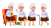 Old Woman Poses Set Vector. Elderly People. Senior Person. Aged. Beautiful Retiree. Life. Card, Advertisement, Greeting Design Isolated Cartoon Illustration