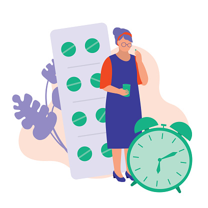 Old Woman Reminded To Take Medicine. Medication And Reminder Concept. Vector Flat Cartoon Illustration.