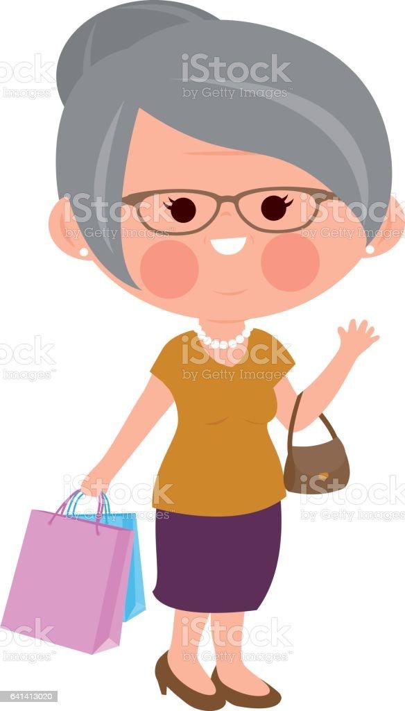Old woman shopping vector art illustration