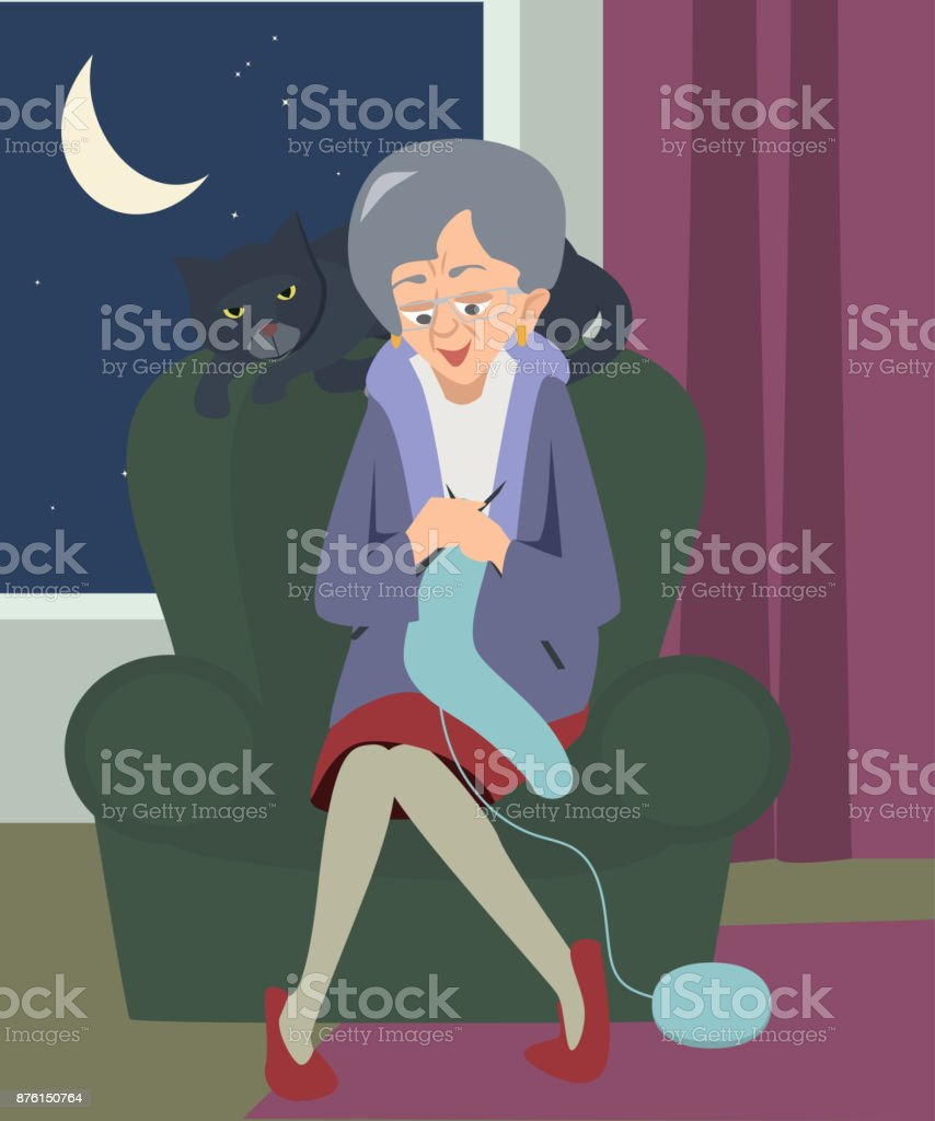 best cartoon of a old lady knitting illustrations  royalty-free vector graphics  u0026 clip art