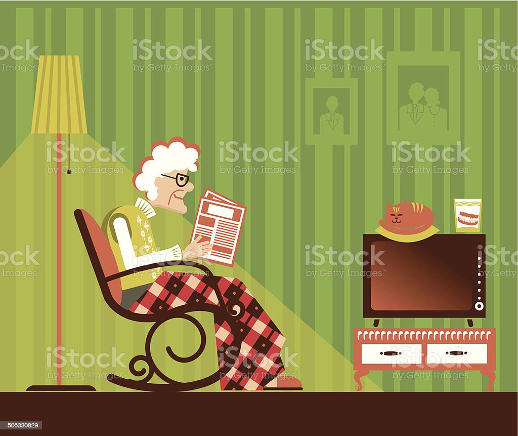 Old woman sitting and reading newspaper vector art illustration