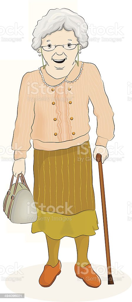Old Woman Standing vector art illustration
