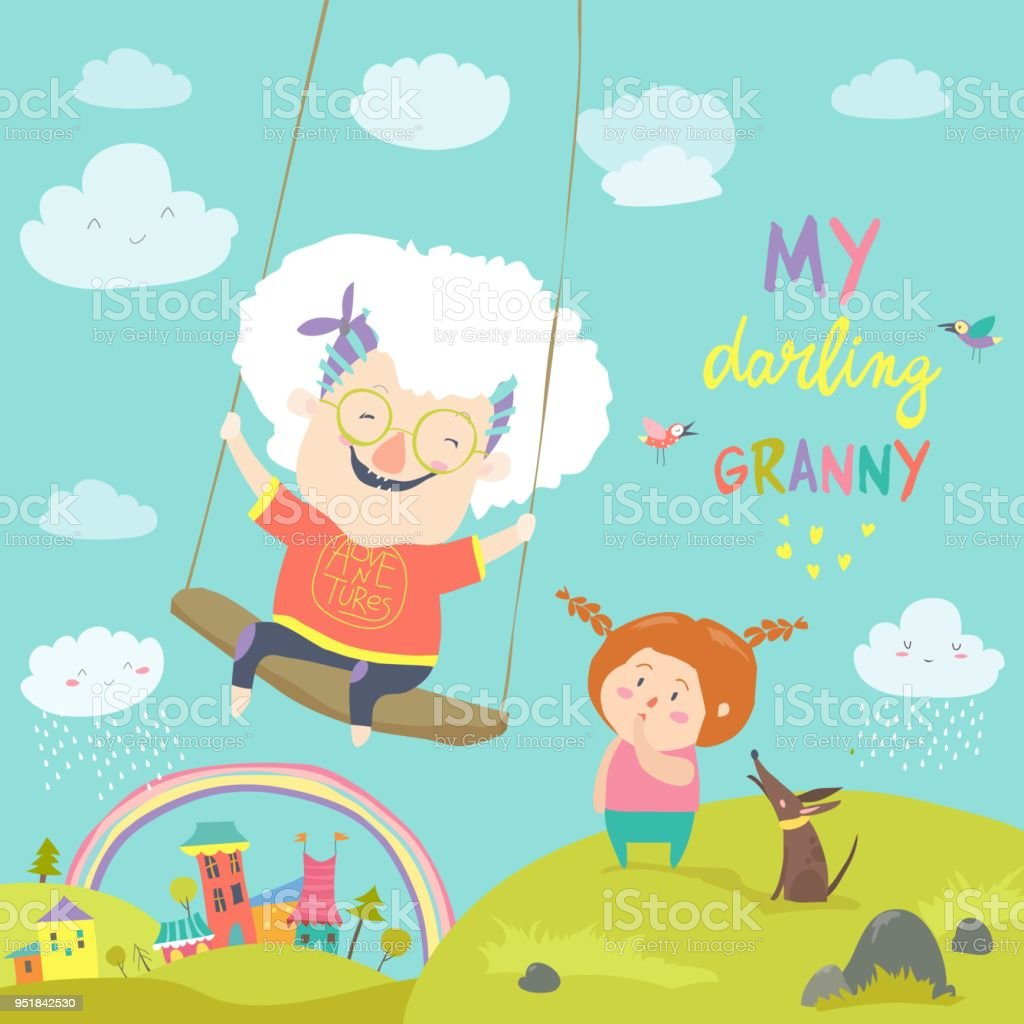 Mulher velha balançando em um balanço de bebê - ilustração de arte em vetor