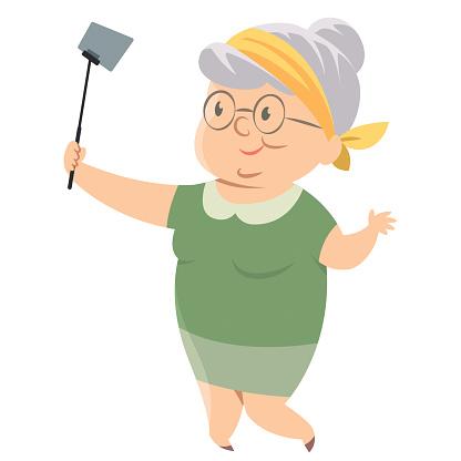 Old woman taking selfie photo