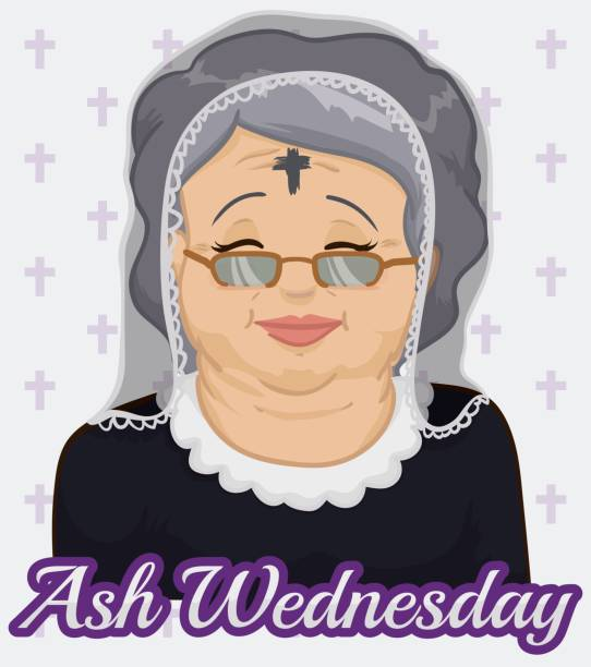 old woman with ash cross and veil on ash wednesday - ash wednesday stock illustrations, clip art, cartoons, & icons