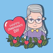old woman with branche design and heart