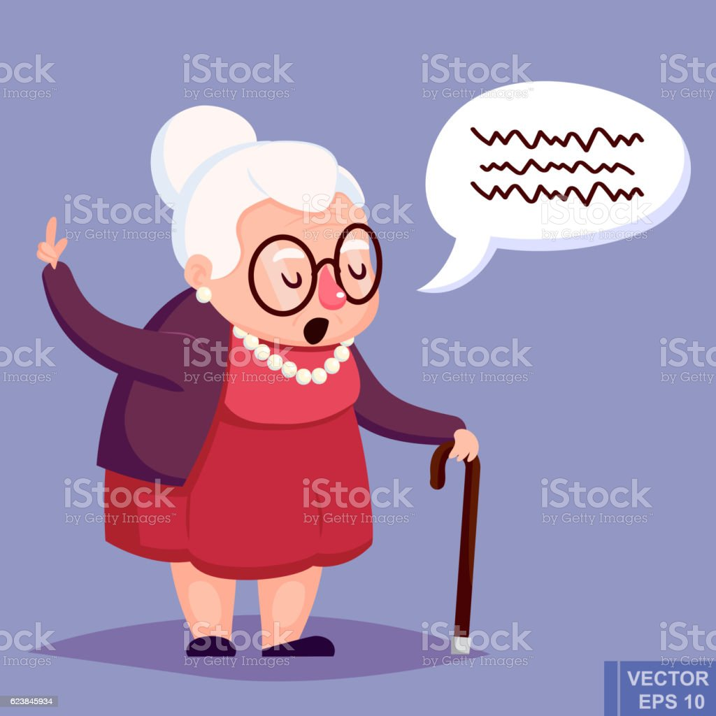 Old woman with cane. Senior lady glasses talking warning her vector art illustration