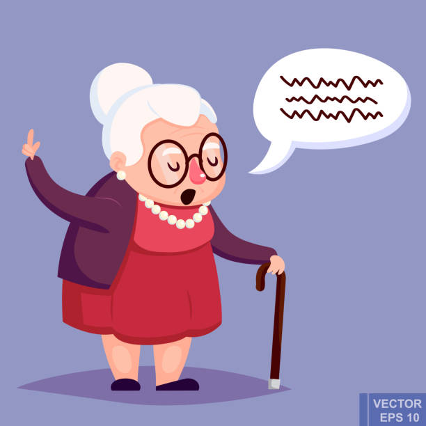 old woman with cane. senior lady glasses talking warning her - granny stock-grafiken, -clipart, -cartoons und -symbole