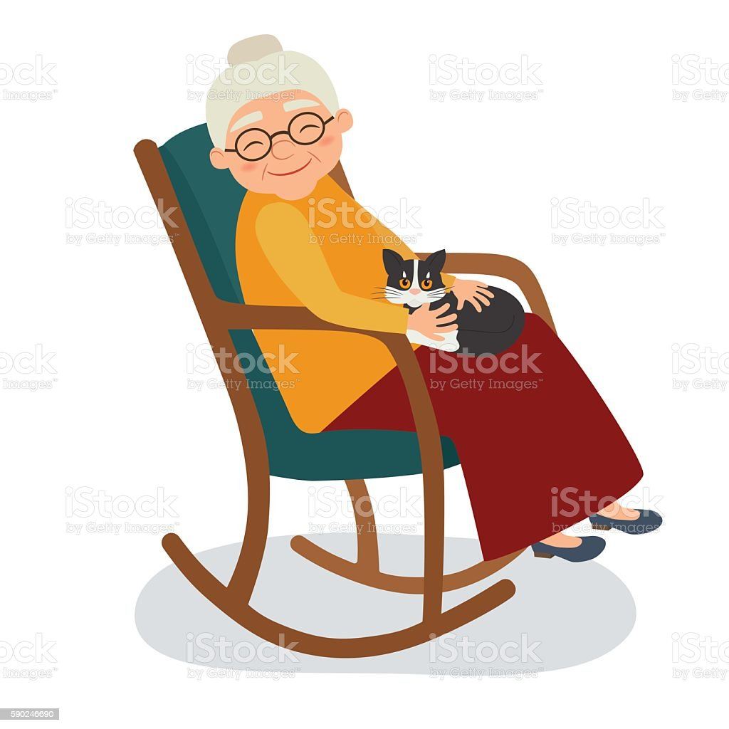 Old woman with cat in her rocking chair vector art illustration