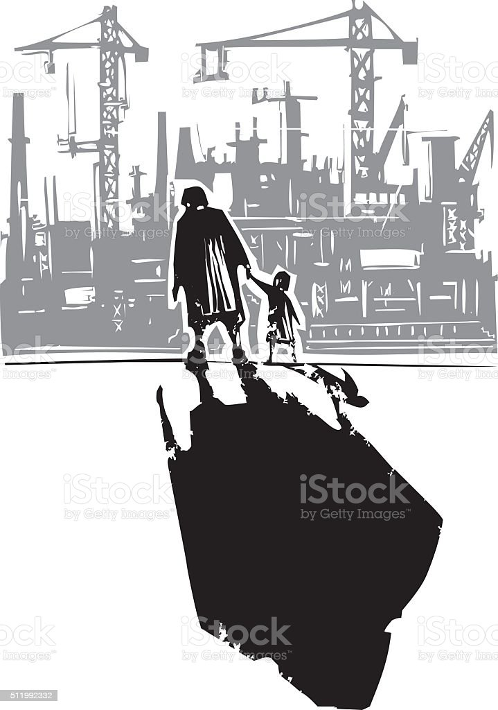 Old Woman with Child going to Factory vector art illustration