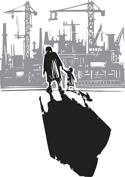 illustrazioni stock, clip art, cartoni animati e icone di tendenza di vecchia donna con un bambino andando fabbrica - nonna e nipote camminare