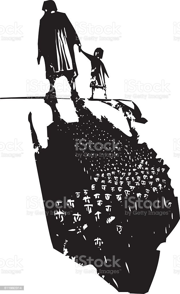 Old Woman with Child trailing Refugees vector art illustration