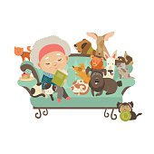 Old woman with her cats and dogs. Vector illustration