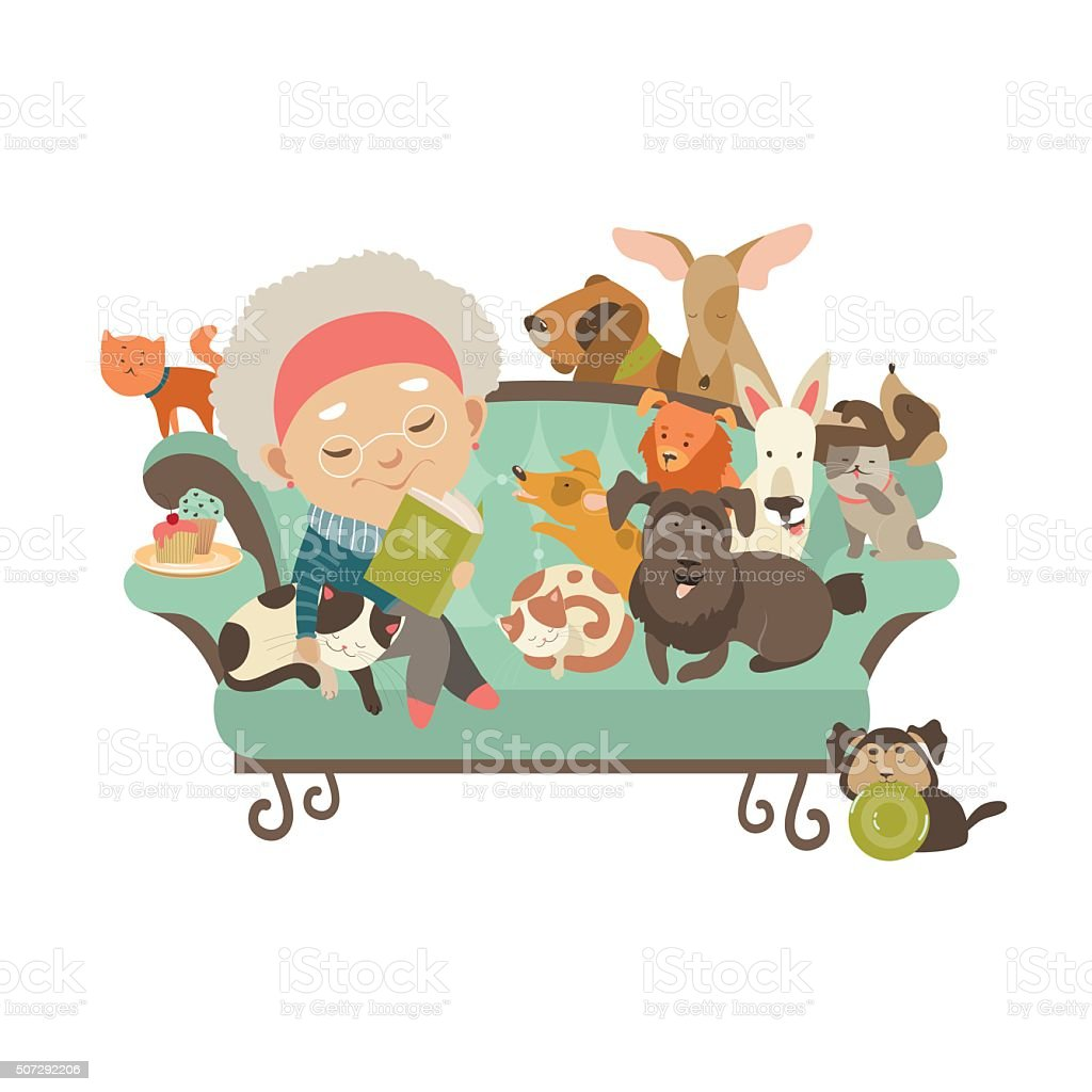 Old woman with her cats and dogs vector art illustration