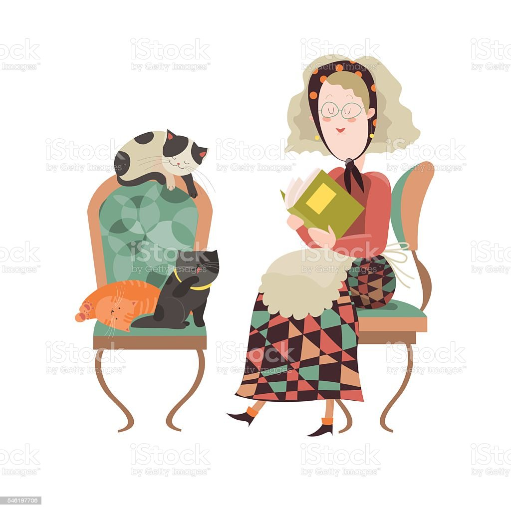 Old woman with her cats vector art illustration