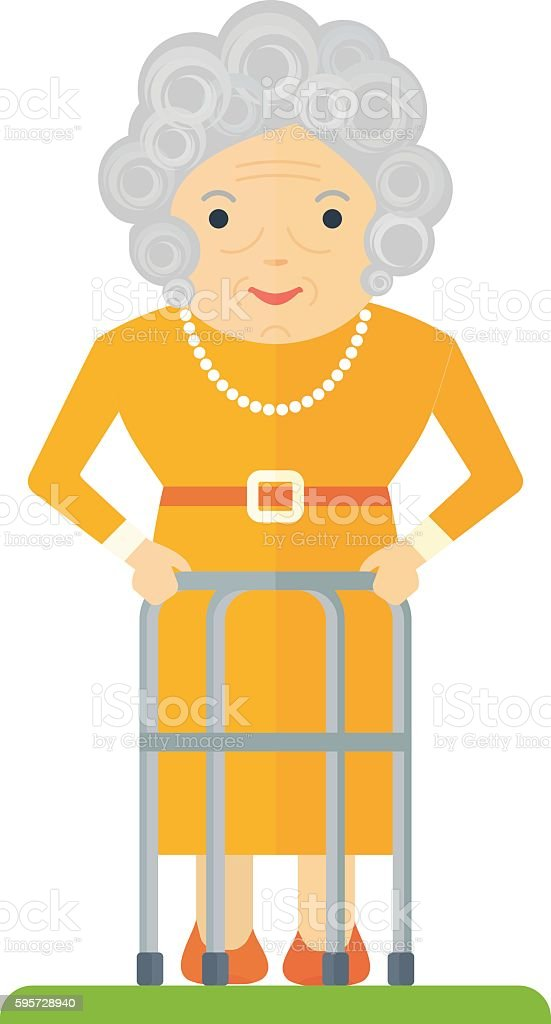 old woman with walker vector art illustration