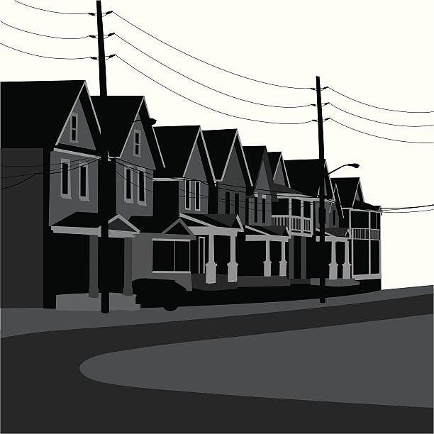 Old Wood Houses Vector Silhouette A-Digit front stoop stock illustrations
