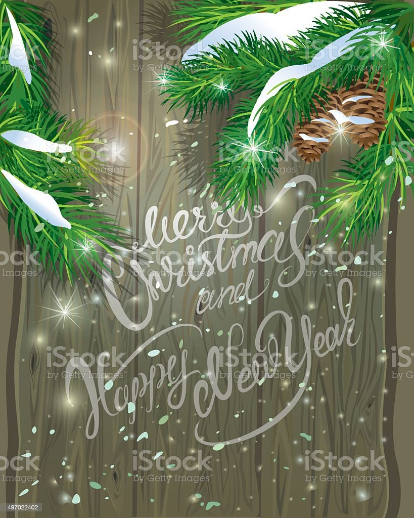 Old Wooden background with painted holiday vector art illustration