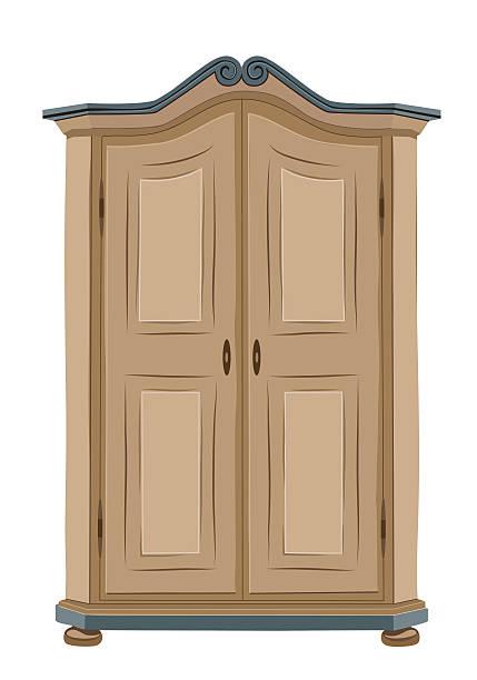 старый деревянный шкаф - карниз stock illustrations