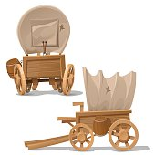 Old wooden cart with shot through canopy