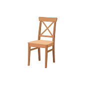 Old wooden chair isolated on white background.Furniture for dining room. Flat vector design.