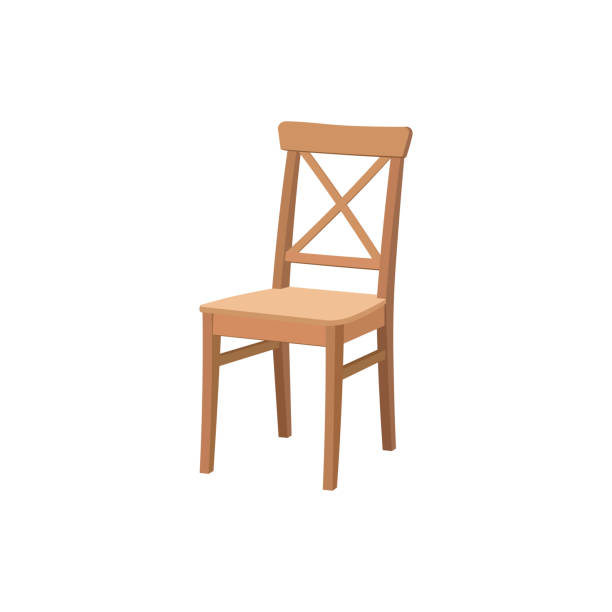 Old wooden chair isolated on white background.Furniture for dining room. Flat vector design. Old wooden chair isolated on white background.Furniture for dining room. Flat vector design. chair stock illustrations