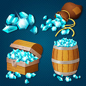 Old wooden chest, barrel, old bag with gems diamonds. Game style treasure vector illustration