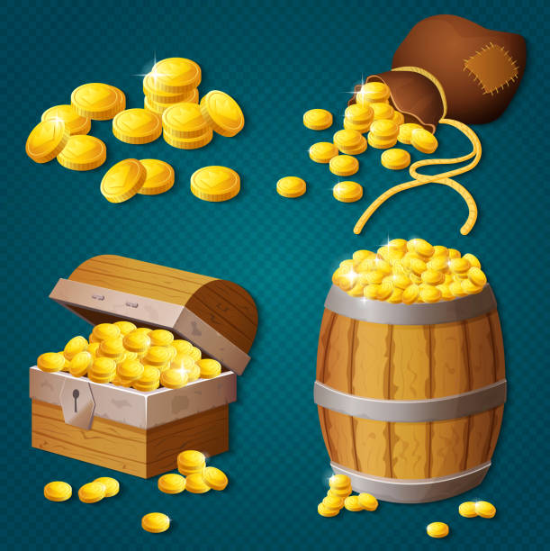 Old wooden chest, barrel, old bag with gold coins. Game style treasure vector illustration. Old wooden chest, barrel, old bag with gold coins. Game style treasure vector illustration antiquities stock illustrations