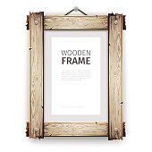Old wooden rectangle frame with cracked white paint. Clipping paths included.