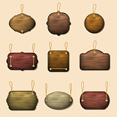 Old wooden label templates or vector wooden banners. Wood signboard hanging on thread illustration