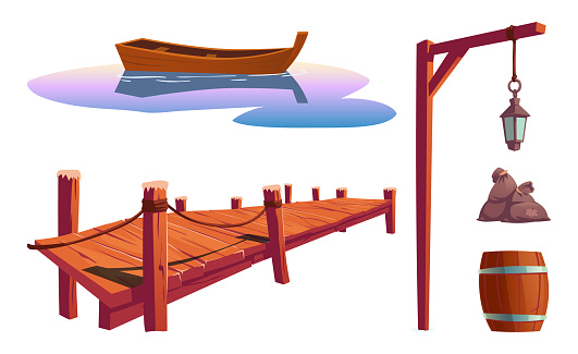 Old wooden pier for fishing, boat and lantern