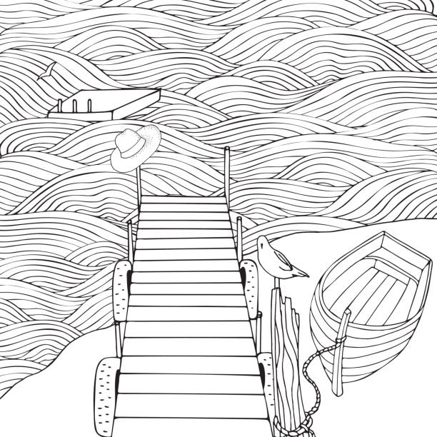 Old wooden pier. Seascape. Coloring book page for adult. Waves, sea, art background. Black and white. vector art illustration