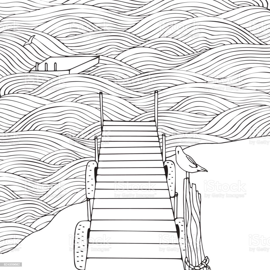 Old Wooden Pier Seascape Coloring Book Page For Adult