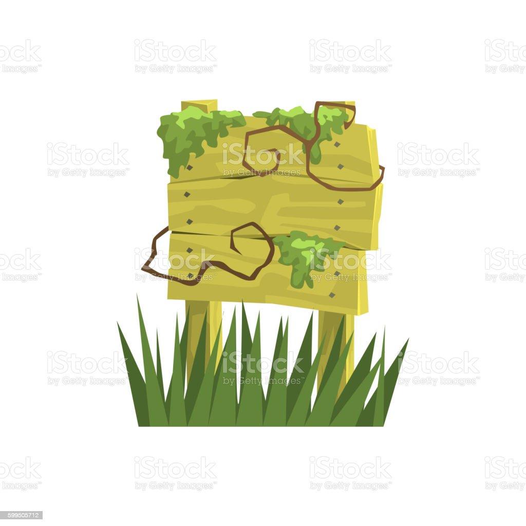 Old Wooden Sign Covered In Vegetation Jungle Landscape Element vector art illustration