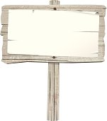 istock Old wooden sign on post 165920428