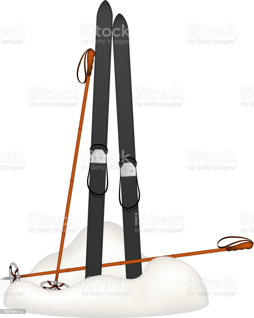 Old wooden skis and old ski poles standing in snow vector art illustration