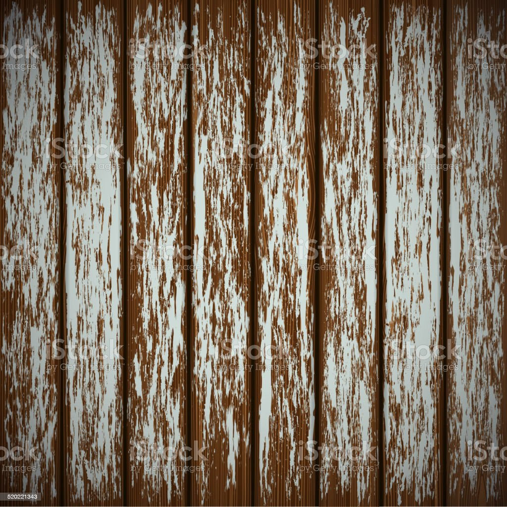 Old wooden wall with peeling paint vector art illustration