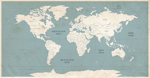 Old world map in vintage style.