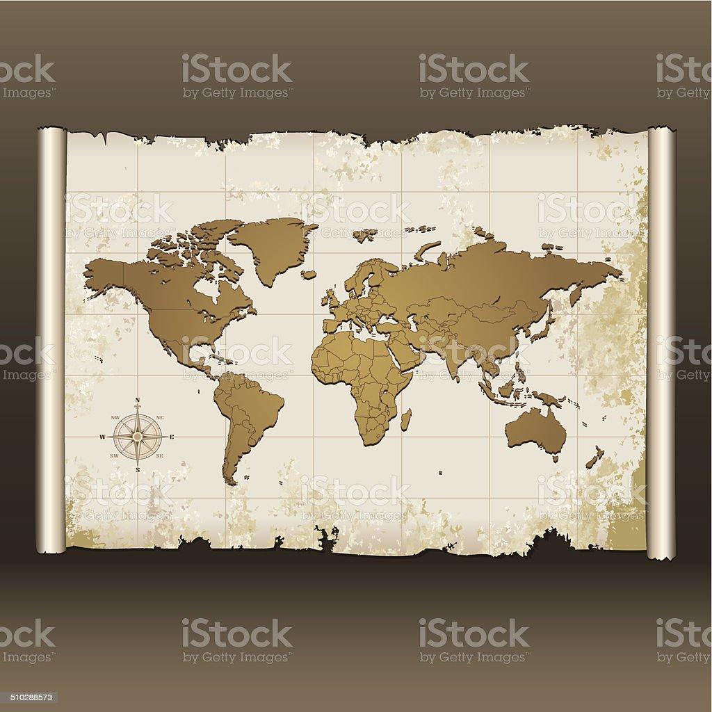 Carte Du Monde Parchemin vieille carte du monde sur parchemin – cliparts vectoriels et plus d