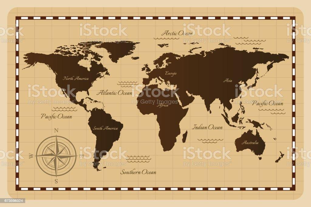 Mapa do mundo antigo. - ilustração de arte em vetor