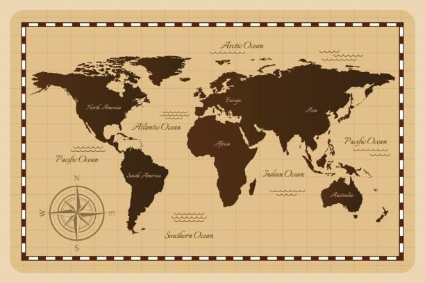 オールドワールドマップをご用意しています。 - ビンテージの地図点のイラスト素材/クリップアート素材/マンガ素材/アイコン素材