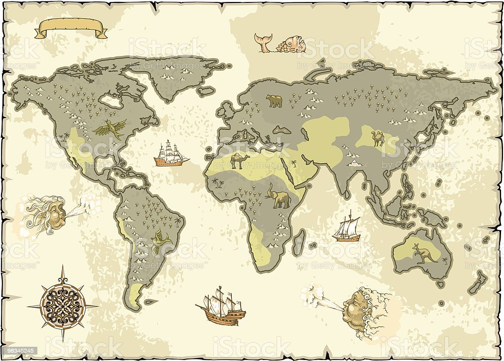 Old World Map royalty-free old world map stock vector art & more images of antique