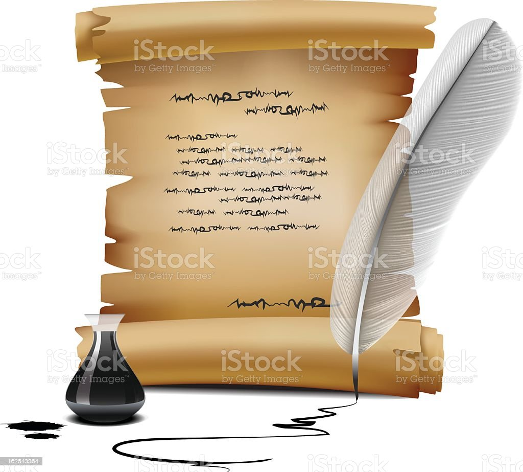 old writing vector art illustration