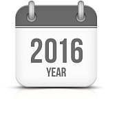 Old year 2016 monochrome calendar vector icon
